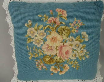 "Vintage Wool Needlepoint Pillow, Flower Bouquet, Pinks and Blue, Toss Pillow, Occasional Pillow, Hand Made, 13"" Square"