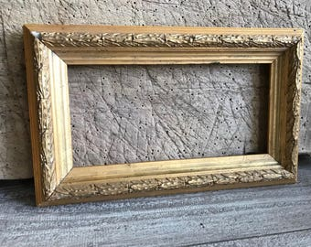 French Gesso Wood Frame, Gold Gilt, Antique Picture Frame, Shabby Chic Wall Frame