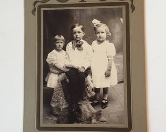 Antique Victorian Children Cabinet Card - Vintage Photography Early 1900's Black & White Photograph
