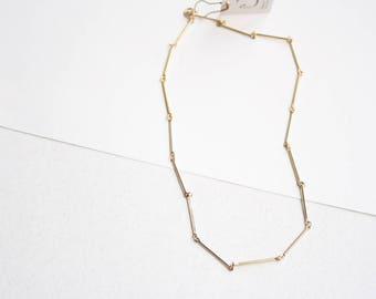 Gold bar link necklace