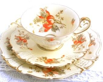 orange floral tea set tea cup trio orange floral tea cup vintage teacup trio german porcelain Sorau Carstens 64