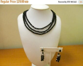 ON SALE Vintage 2pc Black Facetted Glass Beaded Necklace and Earring Set Item K # 2305