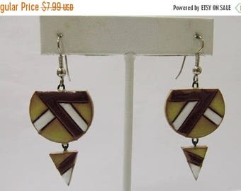 ON SALE Hand Made Glazed Terra Cotta Geometric Earrings Item K # 2188