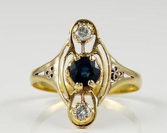 Art Nouveau blue sapphire and diamond rare ring