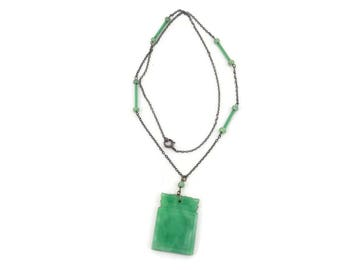 Chinese Peking Glass Necklace and Pendant Green Glass Lavaliere and Chain Art Deco Jewelry