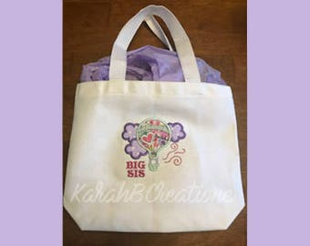 Big Sister Tote - Embroidered - Personalized - New Sibling Gift - New Baby - Shower Gift - Canvas Tote - Toddler Bag - Hot Air Balloon