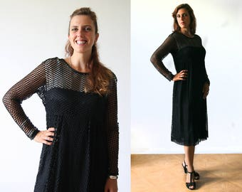 Vintage Little black dress, long transparent sleeves, mesh and silk