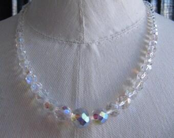 Vintage necklace, Aurora Borealis crystal beads.