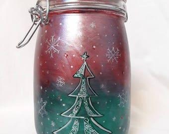 Christmas tree storage jar. Hand painted festive jar.