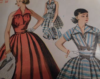 Vintage 1950's Simplicity 4249 Dress and Short Jacket Sewing Pattern Size 14 Bust 32