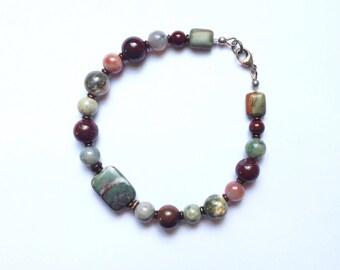 Mens Gray Jasper and Burgundy Beaded Bracelet 8 7/8 Inches
