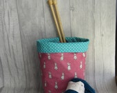 Bunnies on Pink Drawstring Knitting Project Bag, Crochet Project Bag, Reversible, knitting, crochet, weaving, embroidery, craft projects,
