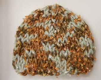 hand knitted baby hat / hand knit boy's cap /  blue & brown baby hat / 0-3 month cap