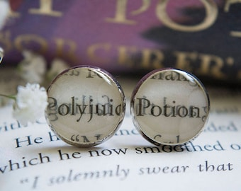 HP Polyjuice Potion Charm Book Earrings HP Jewelry HP Earrings Book Earrings Book Jewelry Inspired by Harry Potter Book Club Gifts Bookish