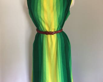 60's 70's Green Ombre Sleeveless Day Dress L XL