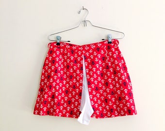 Vintage 60s Anchor Print Skort / Mini Skirt with Exposed Shorts / Red, Navy & White Nautical Novelty Print