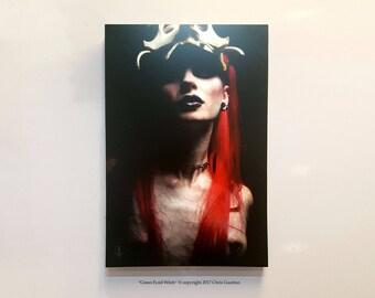 "Fantasy Art, fairytale, hand built frame, ""Green eyed Witch"" Mounted Photo, Dark art, witch Art, green eyes,witchcraft, nude art, redhead"