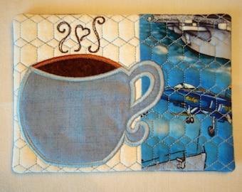 Blue Coffee Cup Mug Rug with US Navy Theme Print