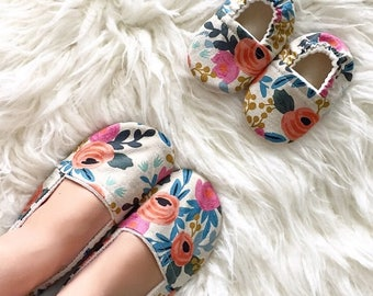 Mom and Me Linen Floral Matching Shoe Set