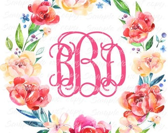 Floral Wreath with Monogram Heat Press Transfer DIY Iron on Transfer