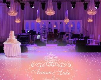 HUGE Cinderella Theme Dance Floor Decal - Wedding Day - Fancy calligraphy Font Dance Floor Personalized Names Vinyl Lettering 39+ Colors