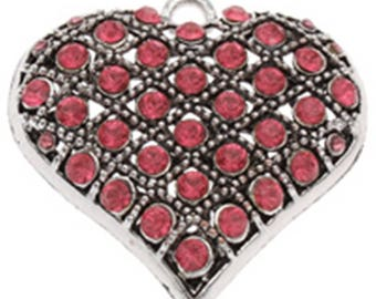 1pc 47mm antique silver alloy with rhinestone heart pendant--5621F