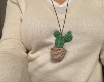 Necklace with cactus Amigurumi evergreen Pendant