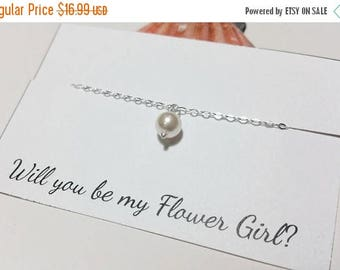 ON-SALE Flower Girl Necklace -  Single Pearl Necklace -  Junior Bridesmaid Gift, Bridal Party Gift, June Birthstone, Keepsake, Birthday Gift