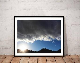 "desert landscape photography print / nature California sun mountain decor art  / blue black white large wall hanging / ""Death Valley sunset"""