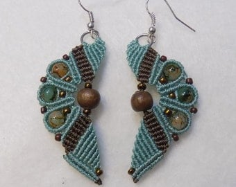 Beaded Micro Macrame  Earrings Turquoise & Brown