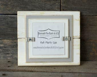4x4 Picture Frame - Distressed Wood - Double Mats - Holds a 4x4 Photo - White & Light Gray