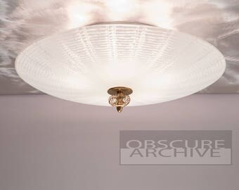 Stunning LEHROLITE Mid Century Ceiling Light - Large 21 Inch Frosted White Glass with Thin Lines - 5 Bulb Fixture