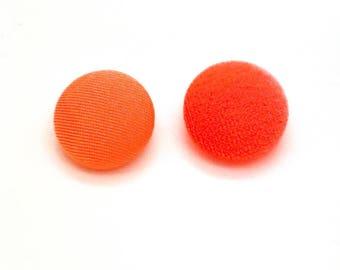 Set of 10, Orange Velvet Buttons
