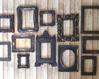 black wall frame gallery distressed open wall frames set of 12 empty frames - Empty Frames On Wall