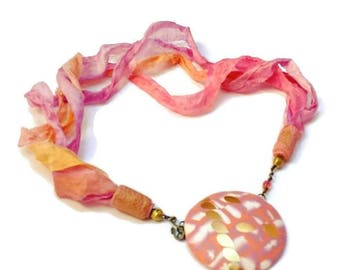 Pink Orange and Gold Necklace, Polymerclay Jewelry, Silk Chiffon Ribbon Necklace, Special Occasion Jewellery, Gift for Her, Pink Necklace