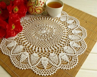 Large doily 17 inches Round crochet doilies Table decoration Pineapple crochet Large crochet doily Crochet decoration 415