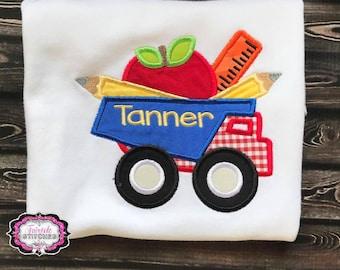Kindergarten Shirt, Boy School Shirt, School Dump Truck, Toddler Boy,  Preschool Shirt, First Day of School Shirt, School Shirt