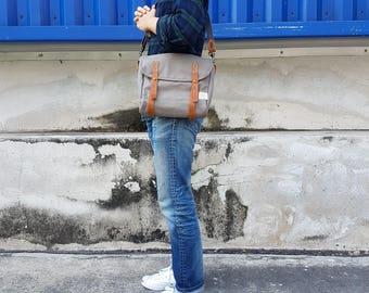 New Gray Mini Messenger Bag / Satchel Vintage Style