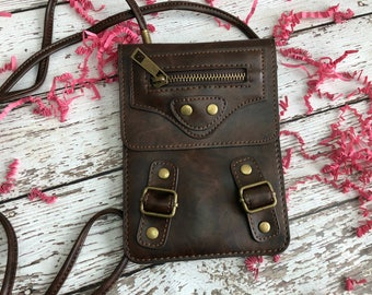 Brown Faux Leather Crossbody Pouch | Perfect for Dog Walks