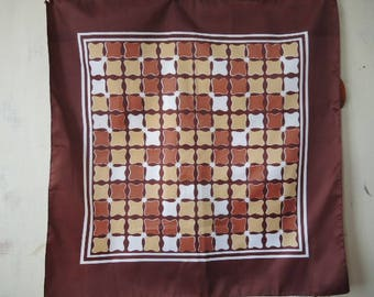 Vintage 1970s scarf water repellent polyester abstract browns 28 x 28 inches