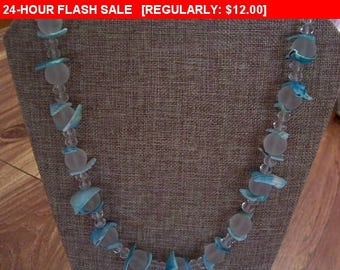 Blue shell bib necklace, vintage necklace, bib necklace, statement necklace, estate jewelry