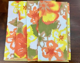 4 Orange and Yellow Floral Linen Vintage Napkins, NWOT, Florida Style, Mid Century, Vintage Linen, 1950s, 1960s