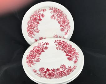 Homer Laughlin, Rose Floral, restaurant ware, vintage, luncheon plates, set of three