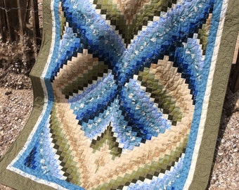 Bargello quilt. Lap/throw size. Blue, green, beige. Wall hanging