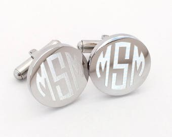 Reserved for Jenna 6 Sets Monogrammed Cufflinks in Stainless Steel Round Personalized Custom Initials Engraved