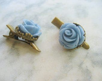 Blue Rose Flower Hair Clips, Antique Brass Clips, Floral Jewelry, Hair Accessories, Crown Hair Clips, Hair Care, Weddings, Flower Girl