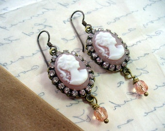 Oval Pink Lady Cameo and Rhinestone Dangle Earrings, Antique Brass Earring, Rhinestone and Lady Cameo Earrings, Gift For Her, Victorian