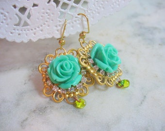 Beautiful Green Rose Dangle Earring, Gold Filigree Earring, Womens Jewelry, Spring, Gold Wire Earrings, Rhinestones, Long Dangle Earring