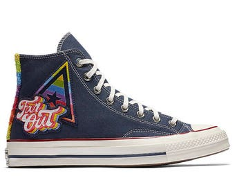 Converse 70s 1st Pride Parade Navy Blue High Lady Mens 2017 Rainbow LGTBQ w/ Swarovski Crystal Rhinestone Chuck Taylor All Star Sneaker Shoe