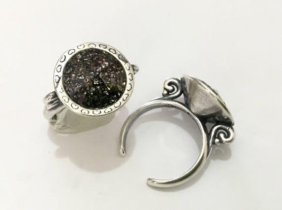 Antique Silver tone Finger Ring Pewter Adjustable Cocktail w/ Swarovski Black Patina Crystal Rivoli 14mm Rhinestone gem Filigree Ladies Gift